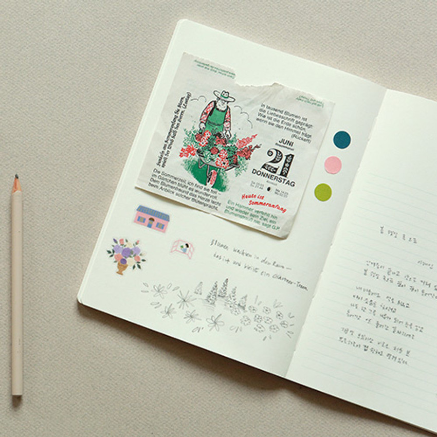 Example of use - Dailylike Color 12mm circle deco sticker 4 sheets