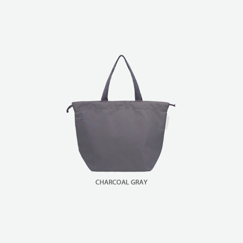 Charcoal gray - Travelus air bag drawstring medium shoulder tote bag