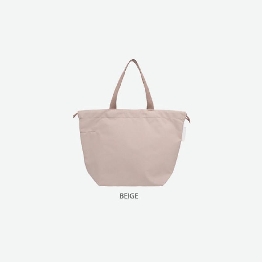 Beige - Travelus air bag drawstring medium shoulder tote bag