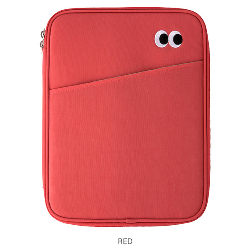 Red - Livework Som Som pocket tablet iPad zip fabric pouch