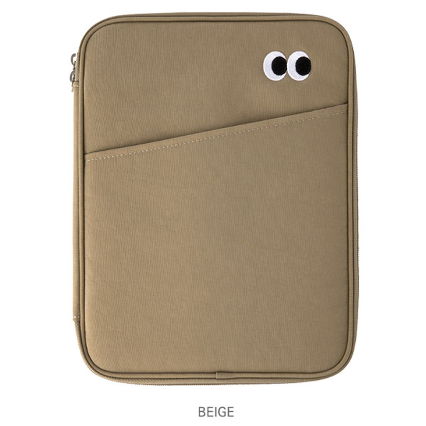 Beige - Livework Som Som pocket tablet iPad zip fabric pouch