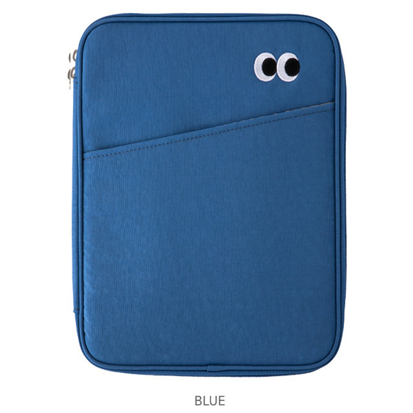 Blue - Livework Som Som pocket tablet iPad zip fabric pouch