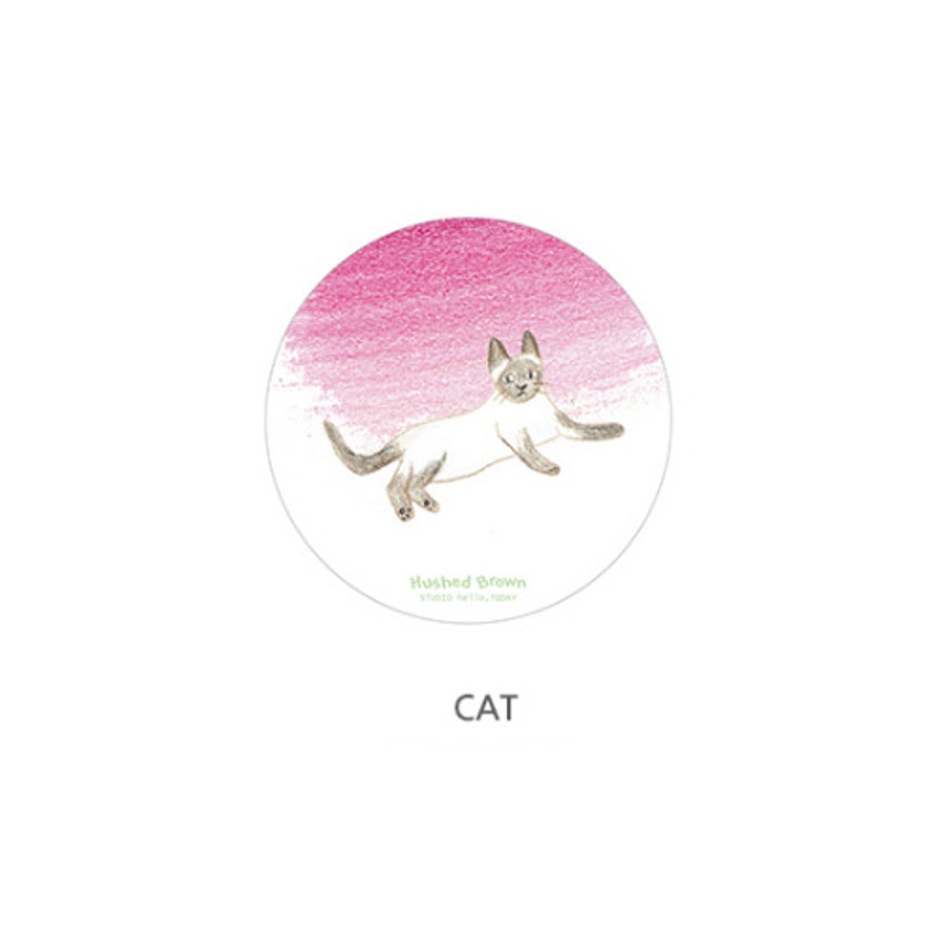 Cat - Hello Today Hushed brown hand drawing round magnet