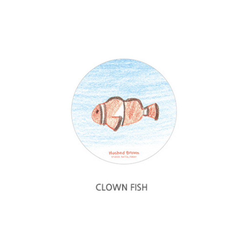Clown fish - Hello Today Hushed brown hand drawing round magnet