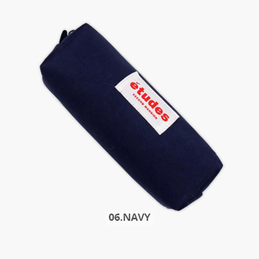 Navy - Second Mansion Etudes zipper fabric pencil case pouch