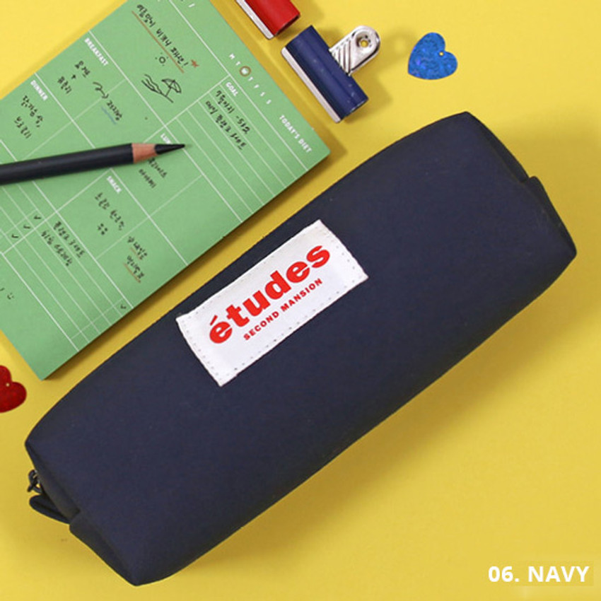Hot pink - Second Mansion Etudes zipper fabric pencil case pouch