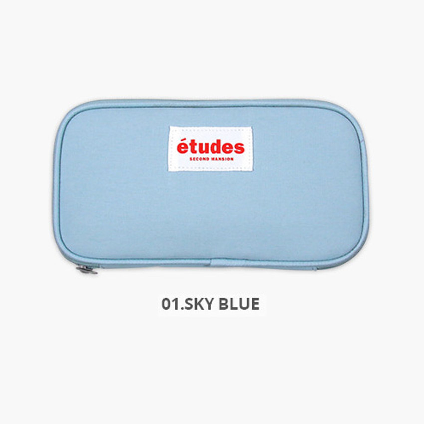 Sky blue - Second Mansion Etudes zip around fabric pencil case pouch