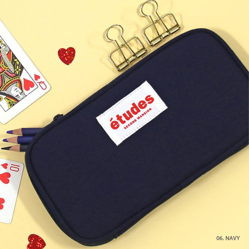 Navy - Second Mansion Etudes zip around fabric pencil case pouch