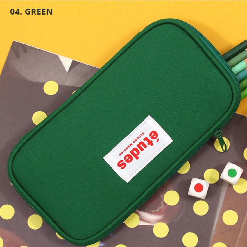 Green - Second Mansion Etudes zip around fabric pencil case pouch