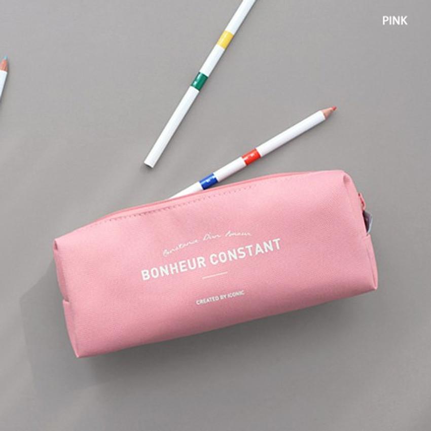 Pink - ICONIC Bonheur constant zipper pencil case pen pouch