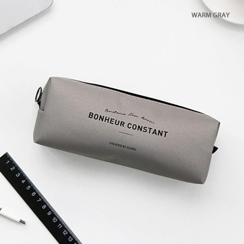 Warm gray - ICONIC Bonheur constant zipper pencil case pen pouch