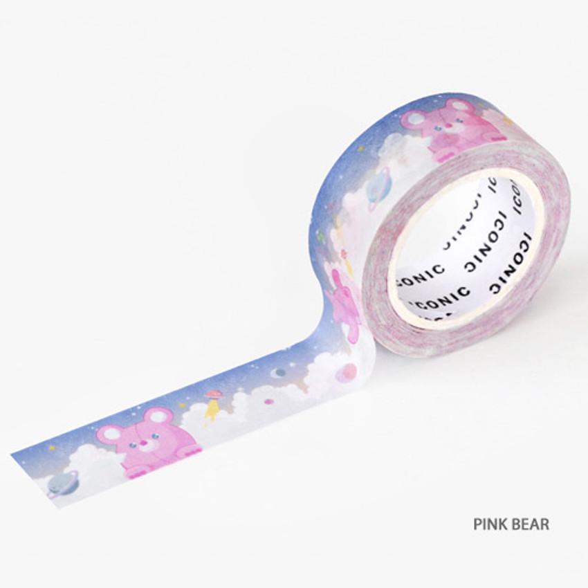 Pink bear - ICONIC Buddy pattern paper deco masking tape