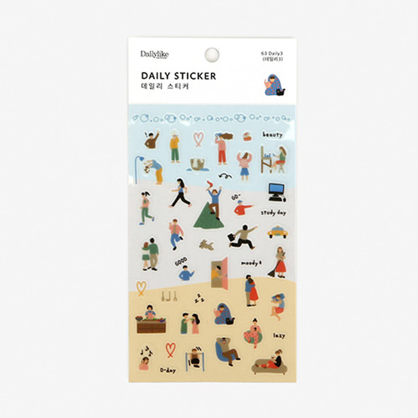 Dailylike Daily transparent deco sticker - Daily3