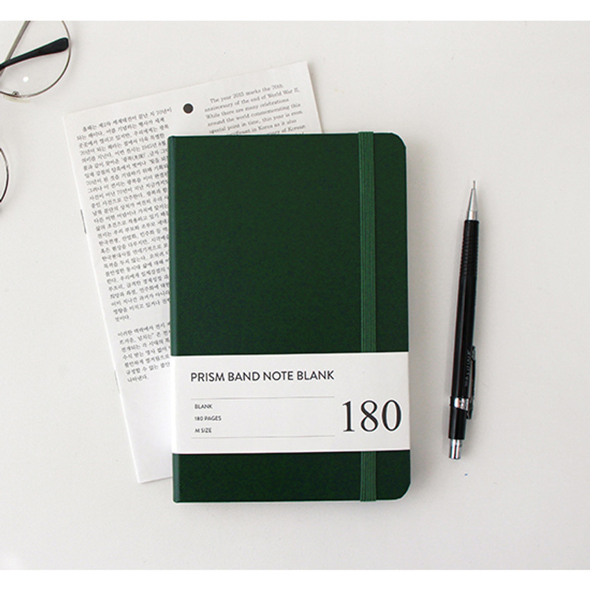 Prism 180 pages medium blank notebook with elastic band