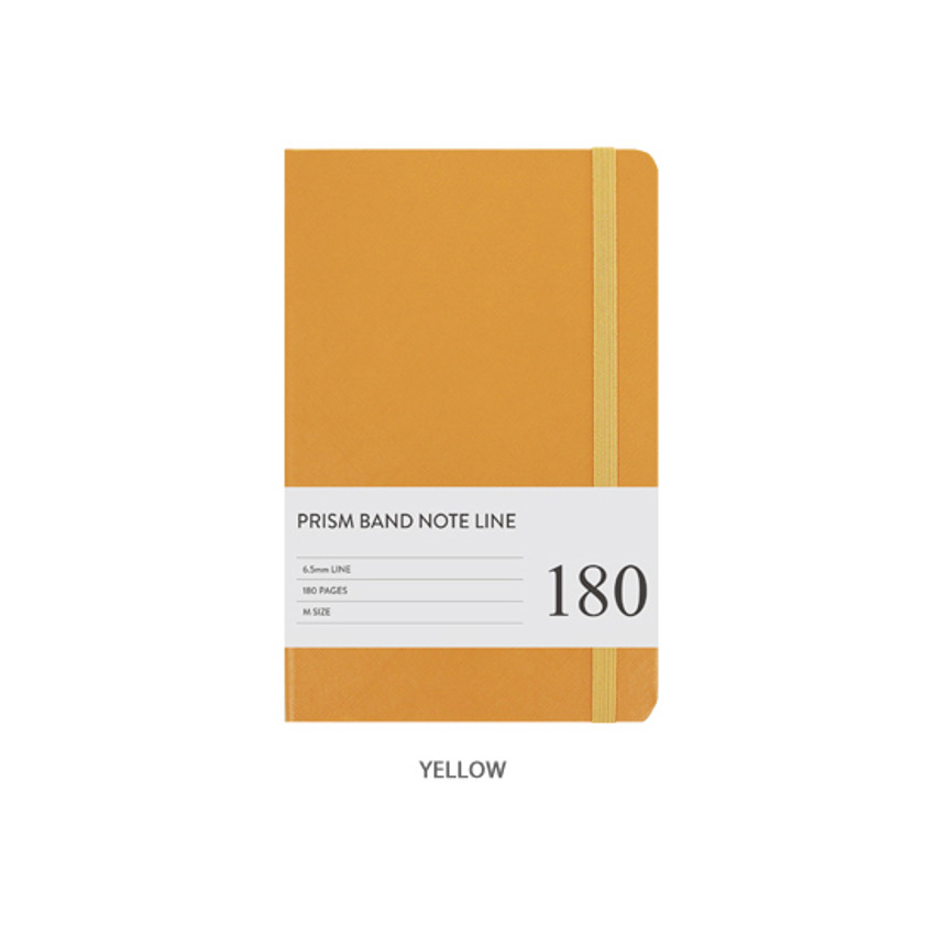 Yellow - Prism 180 pages medium lined notebook with elastic band