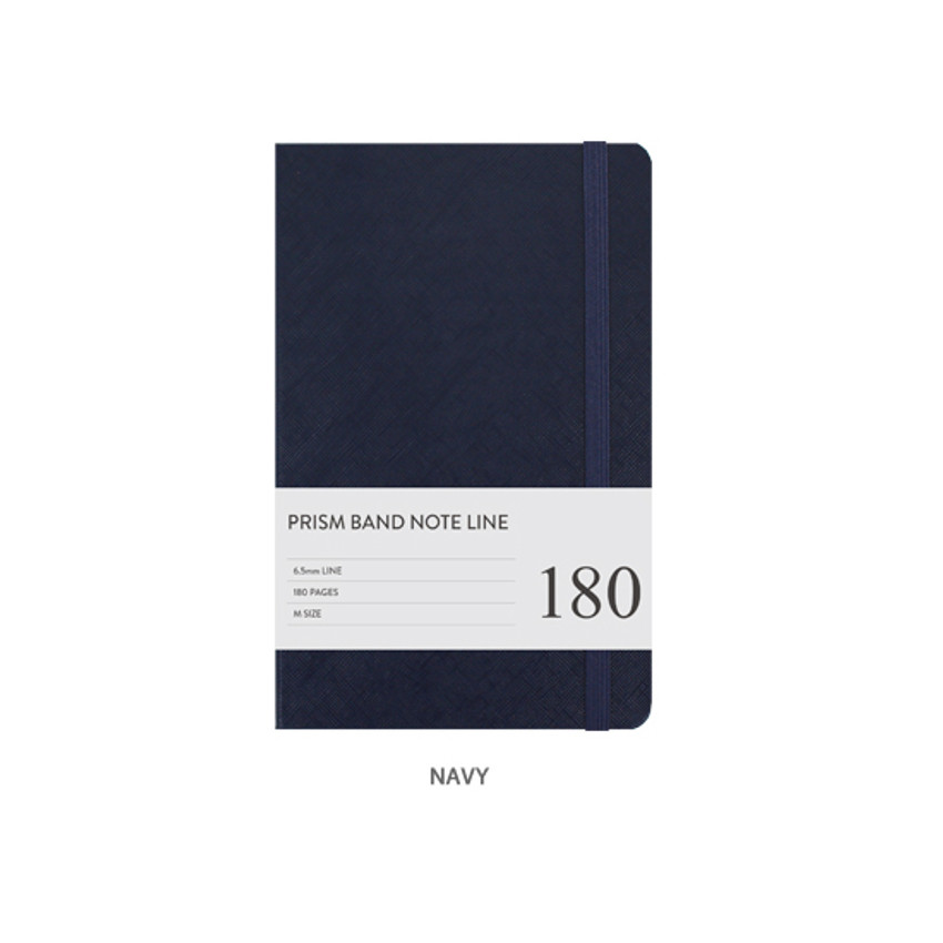 Navy - Prism 180 pages medium lined notebook with elastic band