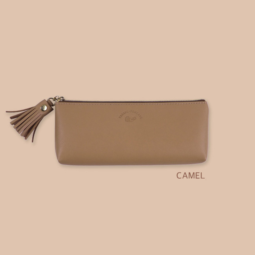 Camel - Rihoon Tassel PU zipper pencil case pen pouch