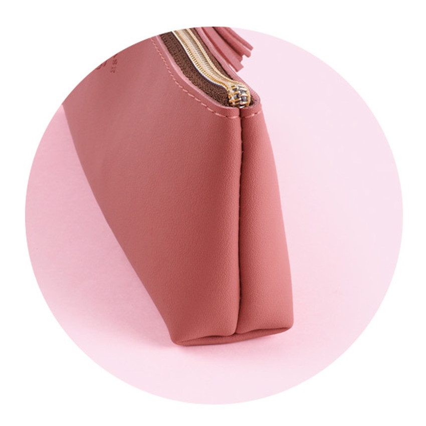 Detail of Rihoon Tassel PU zipper pencil case pen pouch