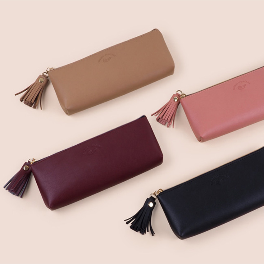 Rihoon Tassel PU zipper pencil case pen pouch