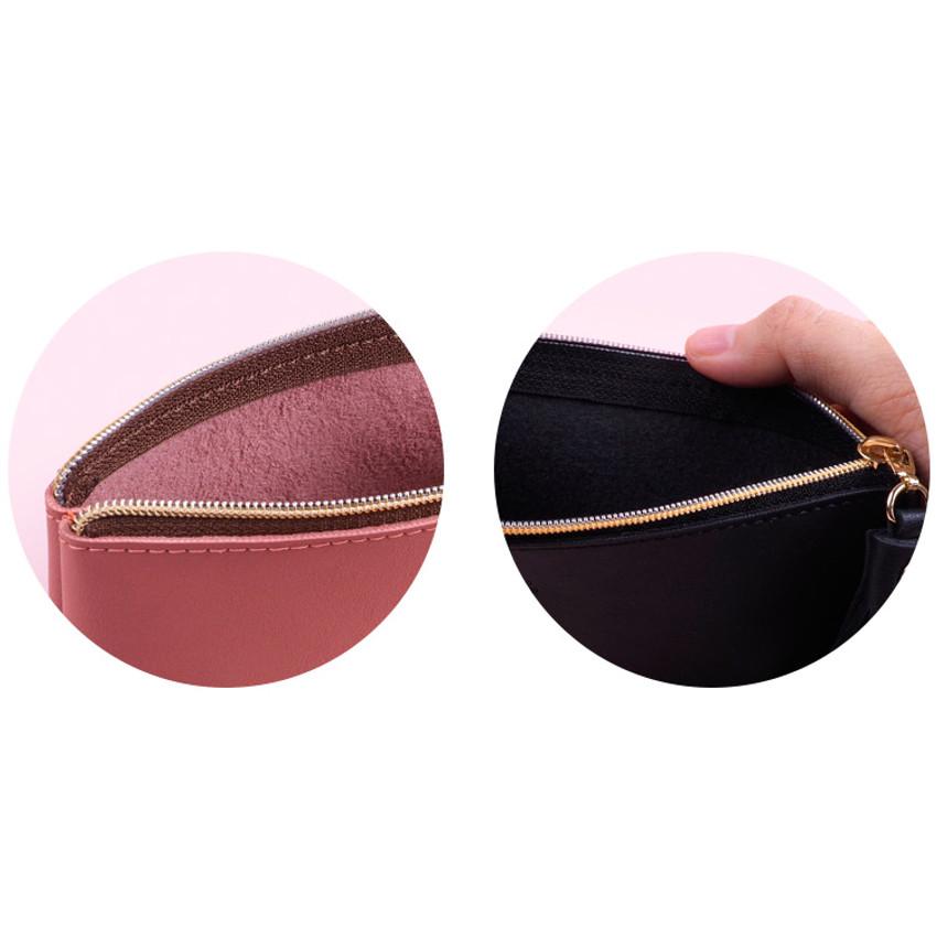 Inner color - Rihoon Tassel PU zipper pencil case pen pouch
