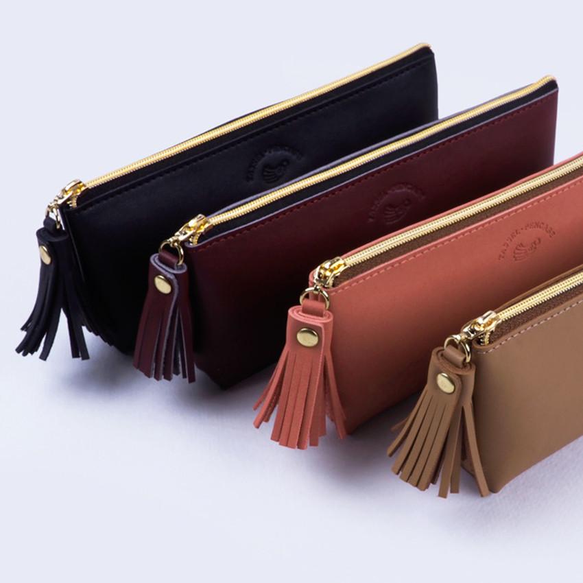 Cute tassel - Rihoon Tassel PU zipper pencil case pen pouch