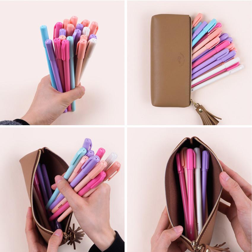 Store up to 20 pens - Rihoon Tassel PU zipper pencil case pen pouch