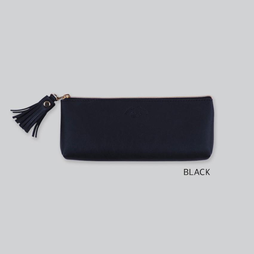 Black - Rihoon Tassel PU zipper pencil case pen pouch