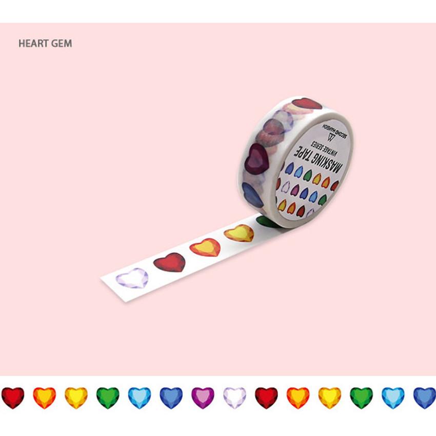 Heart gem - Jewelry pattern 15mm wide deco masking tape