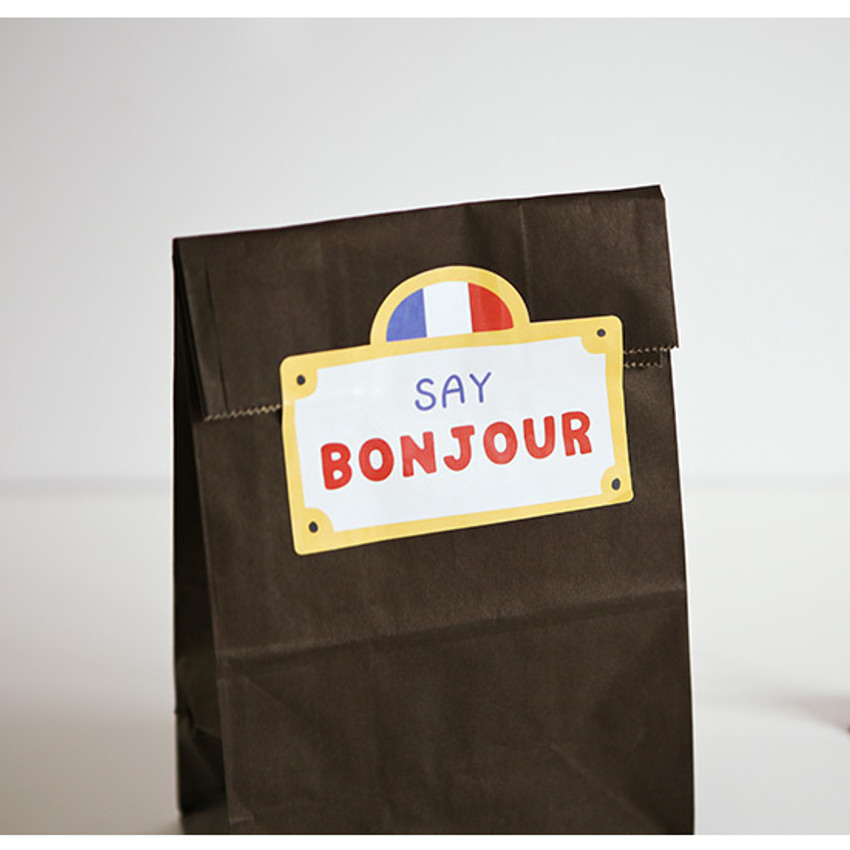 Example of use- Bonjour cat PVC luggage deco sticker pack with zip pouch
