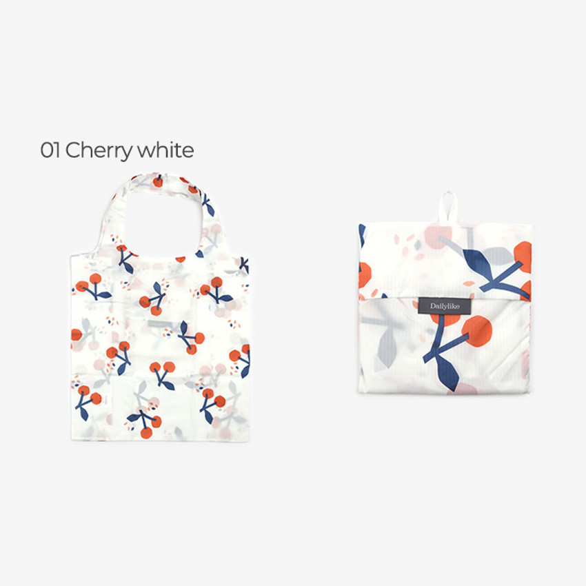 Cherry white - Dailylike Pocket XL shopping travel foldable shoulder bag