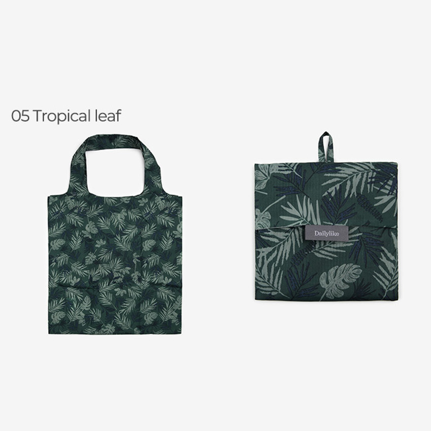 Tropical leaf -Dailylike Pocket XL shopping travel foldable shoulder bag