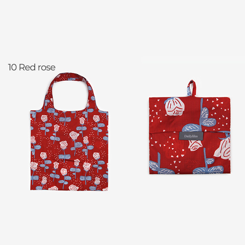 Red rose - Dailylike Pocket XL shopping travel foldable shoulder bag