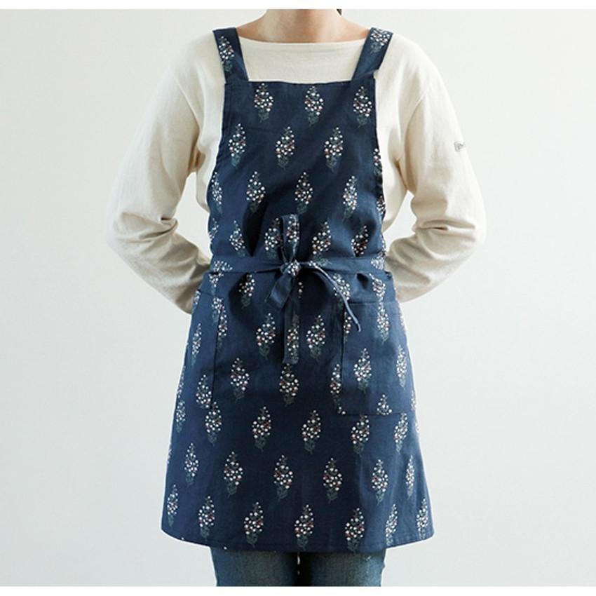 Dailylike Flower tree pattern linen cross back apron