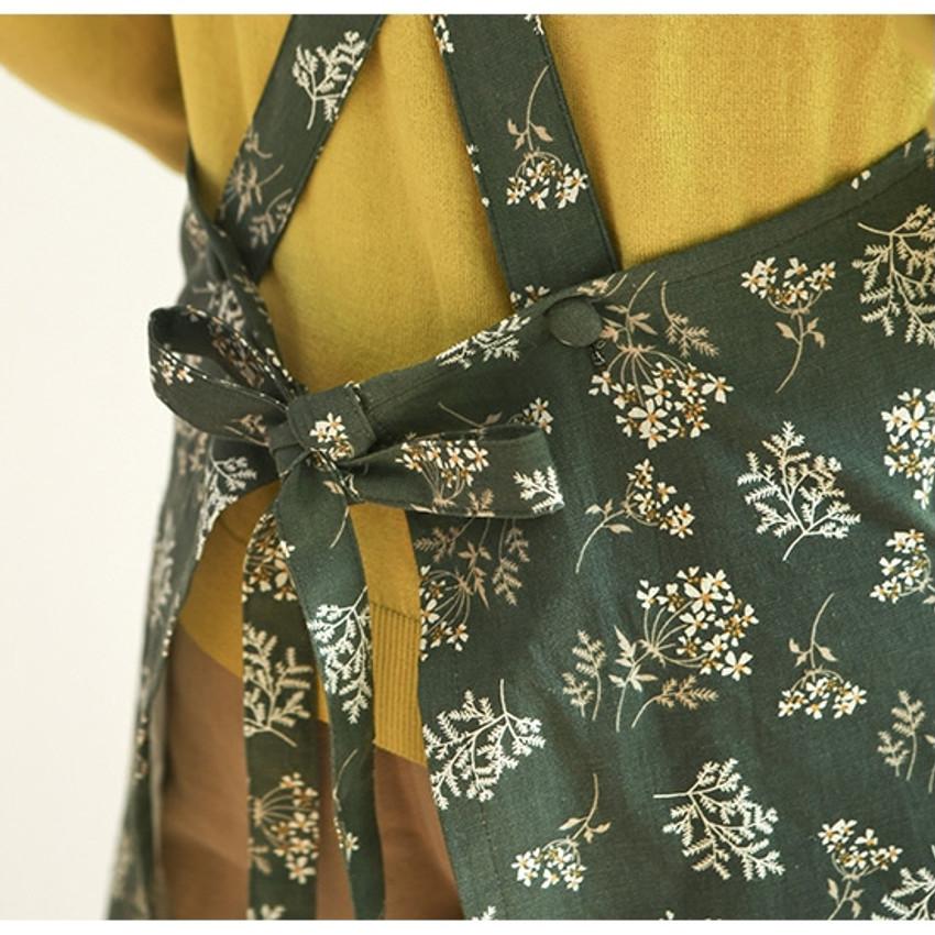 Waist Ties - Dailylike Lace flower pattern linen cross back apron