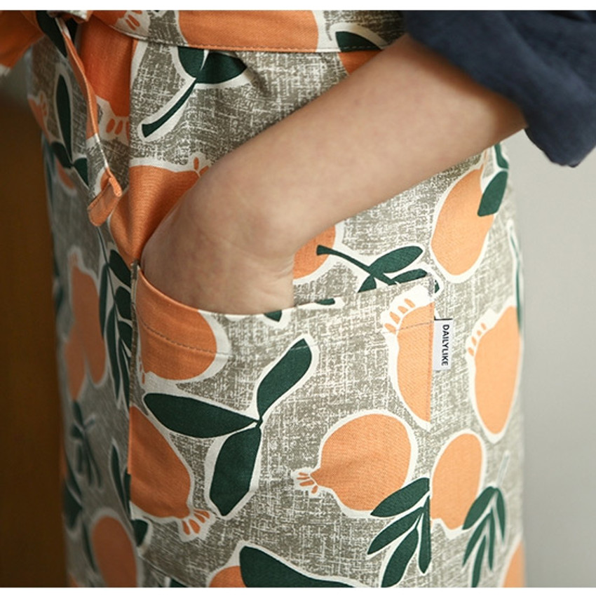 Two pockets - Dailylike Sweet fruits pattern oxford fabric cross back apron