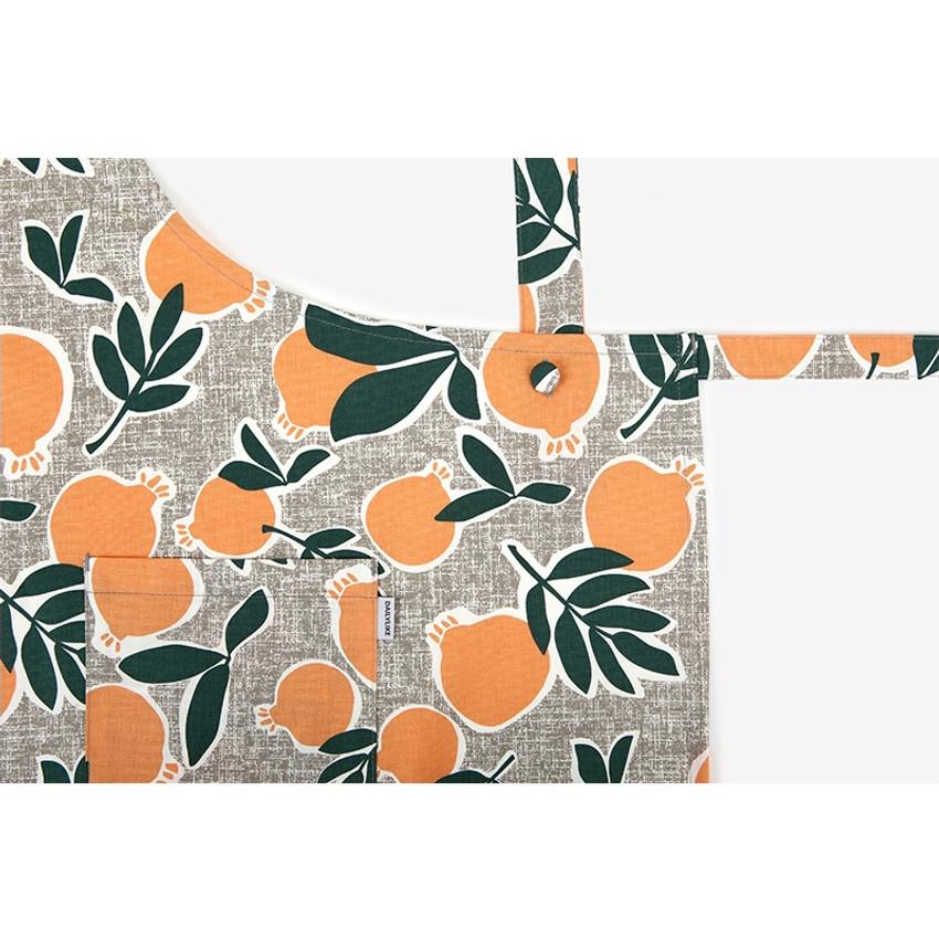 Detail of Dailylike Sweet fruits pattern oxford fabric cross back apron
