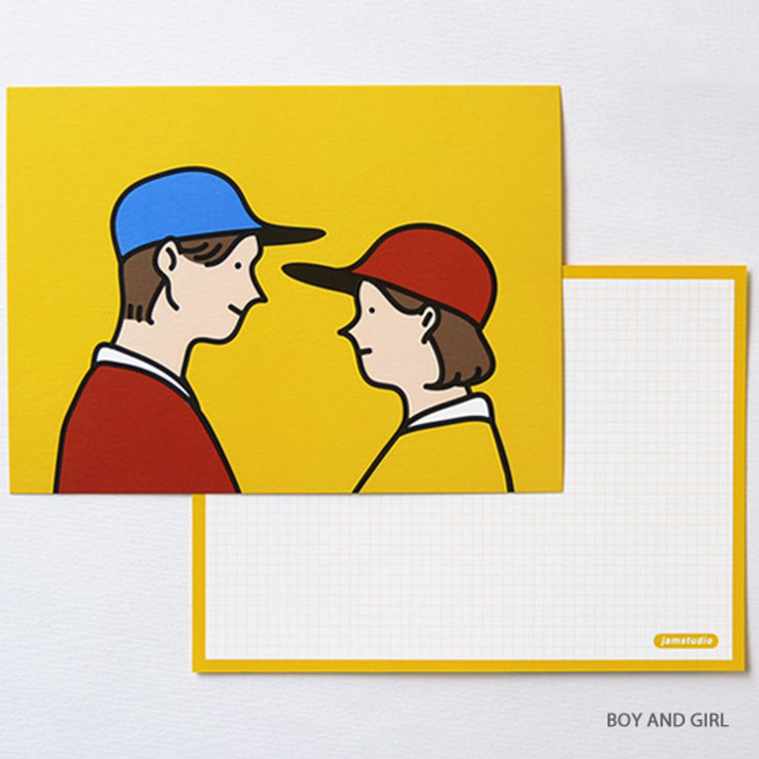 Boy and girl - Jam Studio Boy and girl message postcard with envelope
