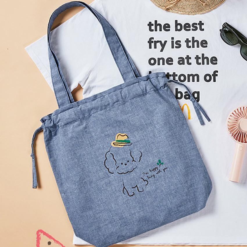 Antenna Shop Poodle cotton drawstring shoulder bag