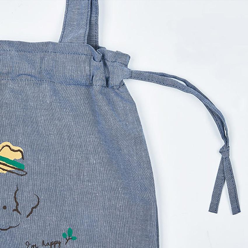 Drawstring - Antenna Shop Poodle cotton drawstring shoulder bag