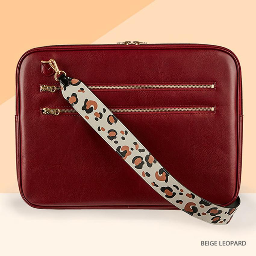 Beige leopard - Antenna Shop Mood maker synthetic leather shoulder strap
