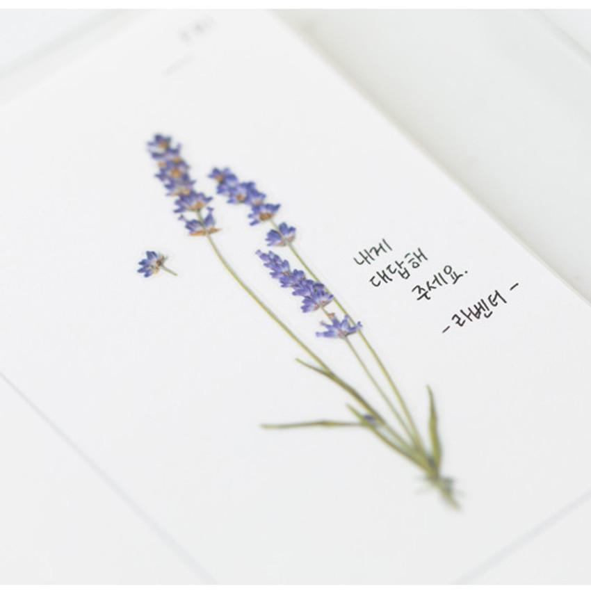 Example of use - Appree Lavender press flower deco sticker