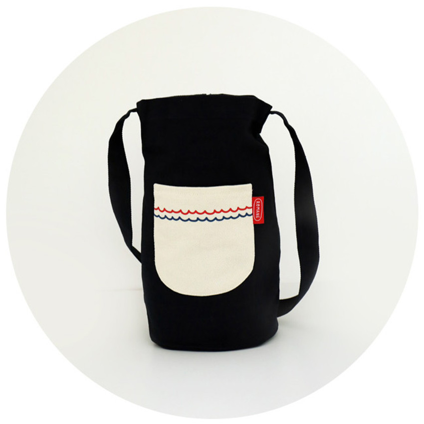 Navy - ROMANE Baguette cotton shoulder bag