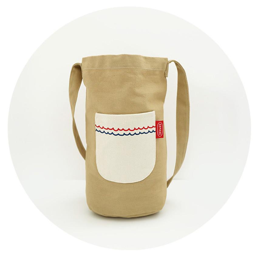 Beige - ROMANE Baguette cotton shoulder bag