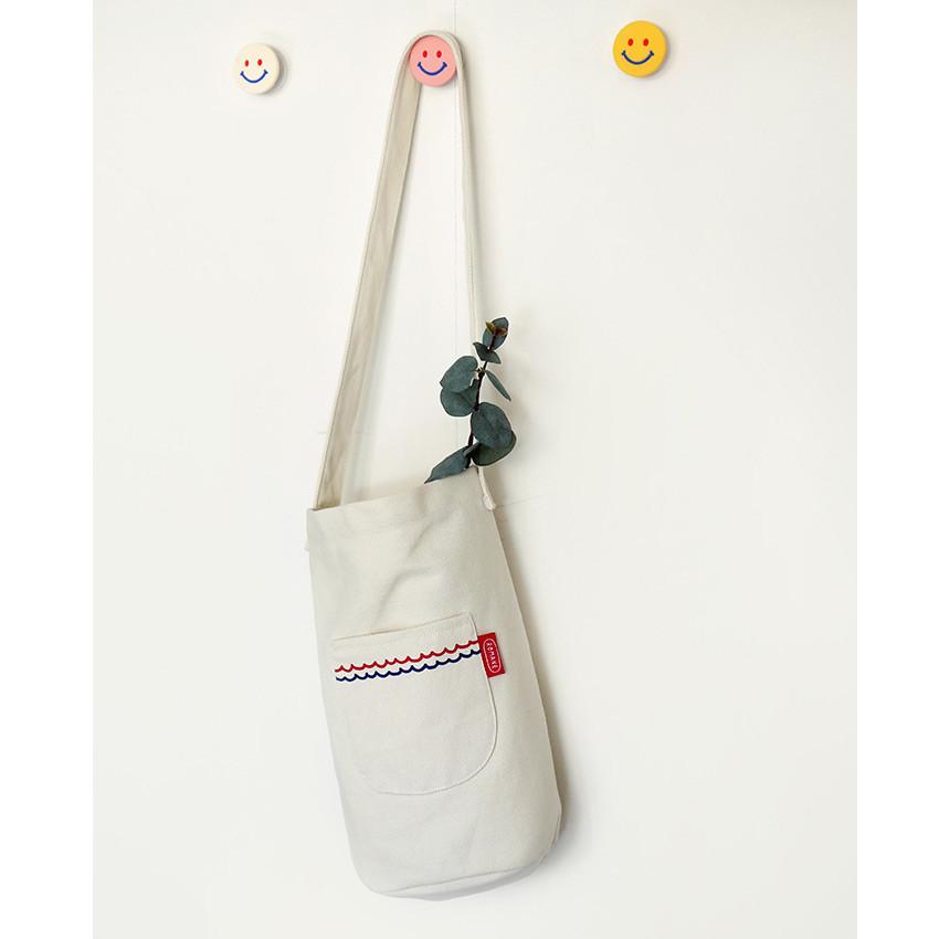 Ivory - ROMANE Baguette cotton shoulder bag