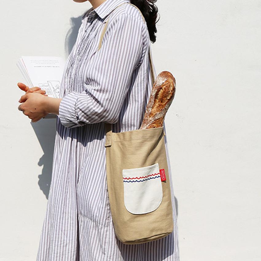 ROMANE Baguette cotton shoulder bag