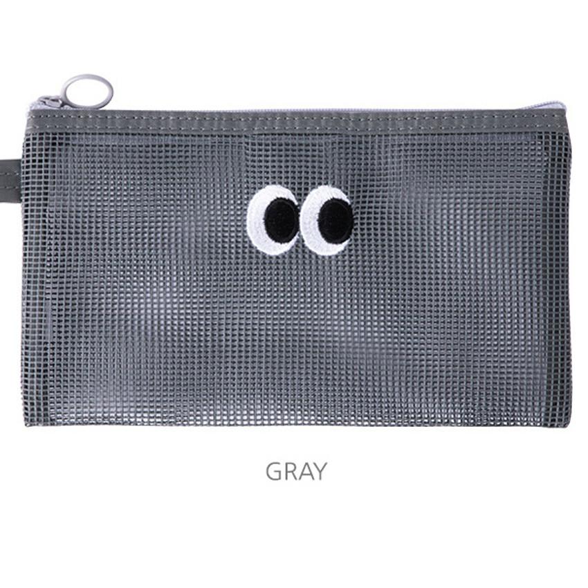 Gray - Livework Som Som stitch mesh zipper pouch ver2