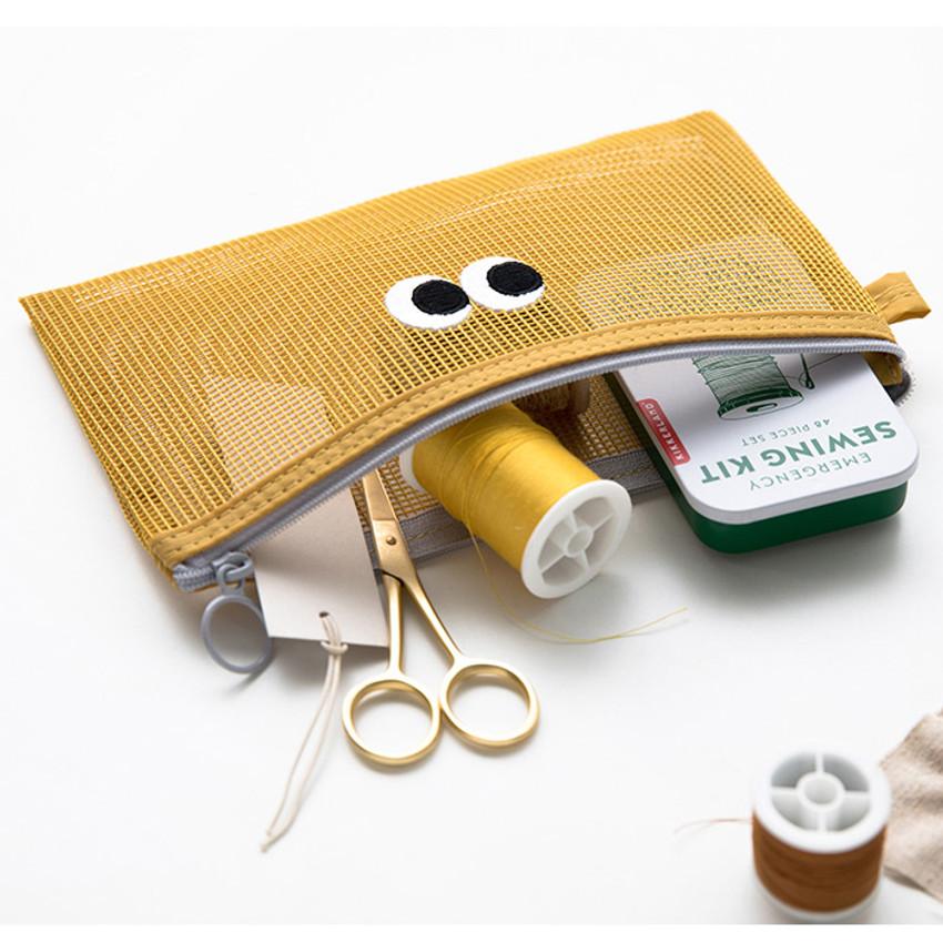 Mustard - Livework Som Som stitch mesh zipper pouch ver2