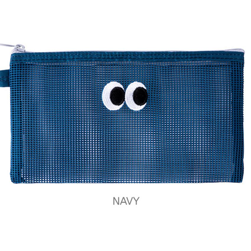 Navy - Livework Som Som stitch mesh zipper pouch ver2