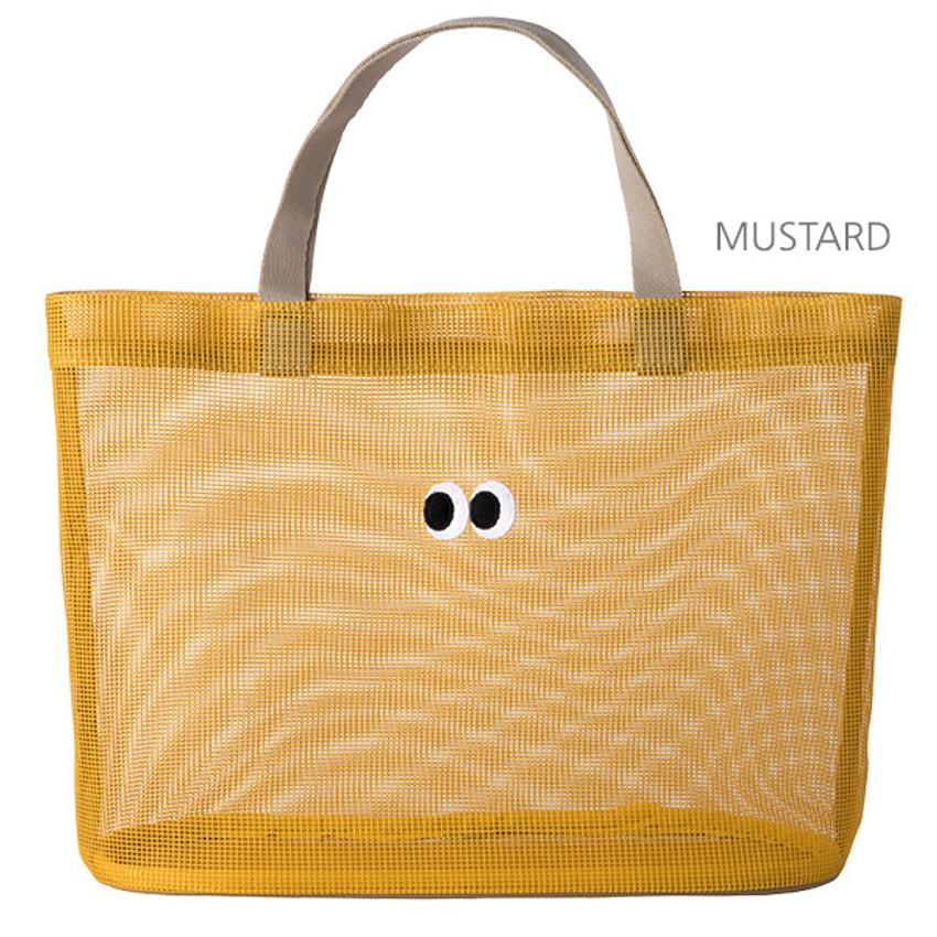 Mustard -  Livework Som Som stitch mesh snap button tote bag