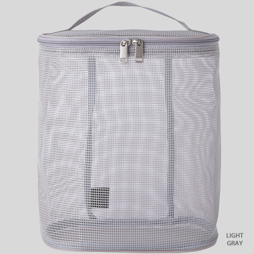 Light gray - Livework A low hill spa mesh travel zipper tote bag